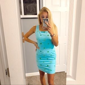 Lilly Pulitzer blue dress with green embroidery